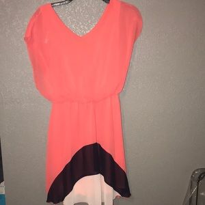 Salmon with navy blue dress